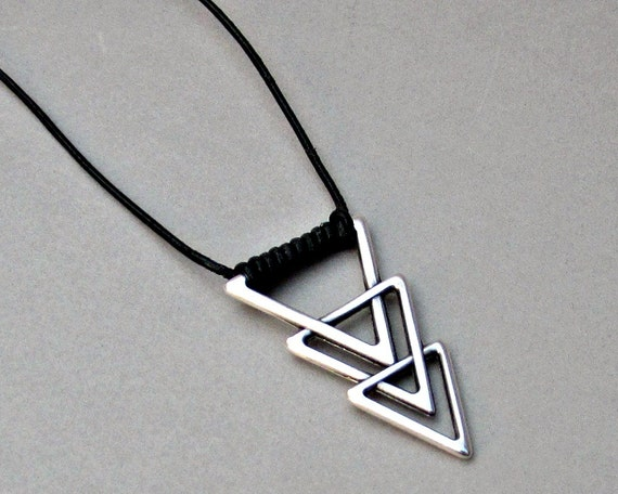Mens Triangle Necklace Geometric Silver Long Leather Necklace Pendant Adjustable