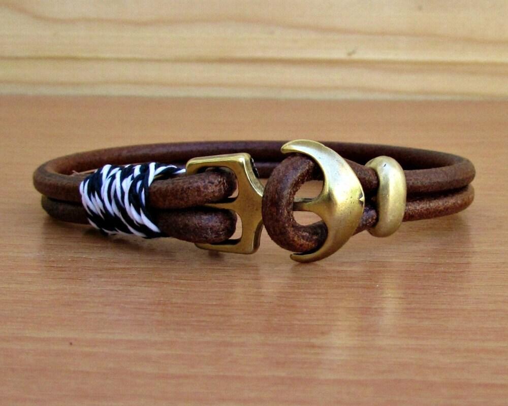 anchor mens bracelet mens leather bracelet cuff nautical rope