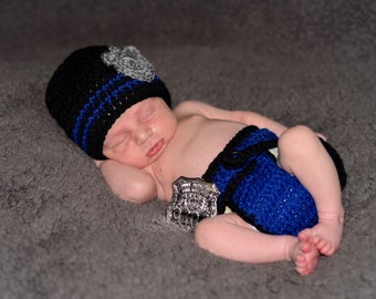 Baby Police hat and cover set, Police Baby Boy Beanie, Baby Boy Knit Hat,  Police Hat Baby Boy  newborn photography prop, black blue