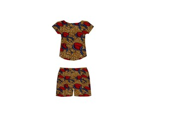 African Clothing, African print shorts, African print shirt. SALE