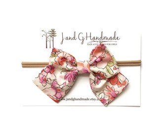 "Baby/Child/Newborn/Girl's Pink Floral Hand Tied Fabric Hair Bow Nylon Headband OR Hair Clip, ""Gianna"" style Bow"