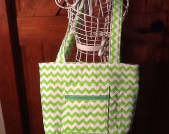 Lime Green Chevron Handbag on sale