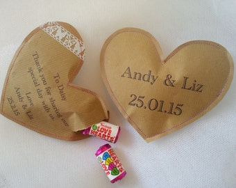 50, 100+ Wedding Favours & Place Names: Personalised Gift, Stitched Paper Treat Pouch - Love Hearts, Spa, Table Decor, Thank you