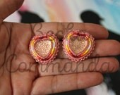 """First Nations """"Native Bling"""" Beaded Earrings Pink Hearts with Genuine Leather"""
