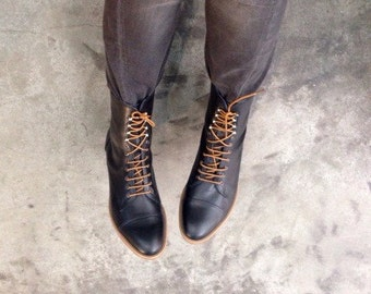 Black Mens Oxford Boots  - Black Leather Boots Elegant Black Lace Up Boots Mens - Handmade boots by Oded Arama