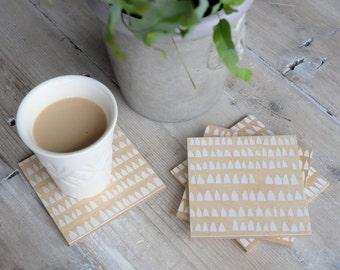 Modern Wood Coasters - Minimalist House Design in White on Birch - Set of 4 - Modern Kitchen Decor