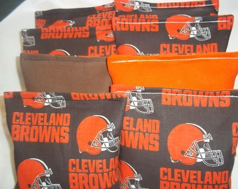 8 ACA Regulation Cornhole Bags - 8 handmade from Cleveland Browns Fabric on Brown and Orange