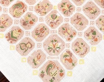 Vintage Mid Century Tablecloth, Penn Dutch, Linen, Folk Art, Roosters, Flowers, Hearts, Earth Tones, 1950s Table Linen, Farmhouse, Cottage