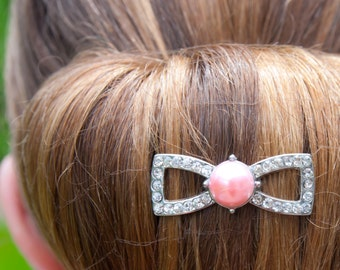 Crystal bow barrette, 24 colors, saddleseat bun bow, pageant hair accessory, bridesmaid hair clip, prom hair barrette, saddle seat bow