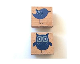 Blue Bird & Hoot Owl Stamp, Bird and Owl Hampton Art Studio G Wooden Rubber Stamp, MaryBeth Freet, Scrapbooking Stamps