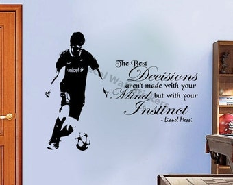 10% OFF Lionel Messi Quote Wall Stickers Barcelona FC Player Wall Murals Vinyl Decals D4