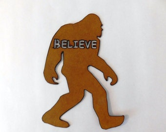 Sasquatch yeti bigfoot believe rusted metal sign