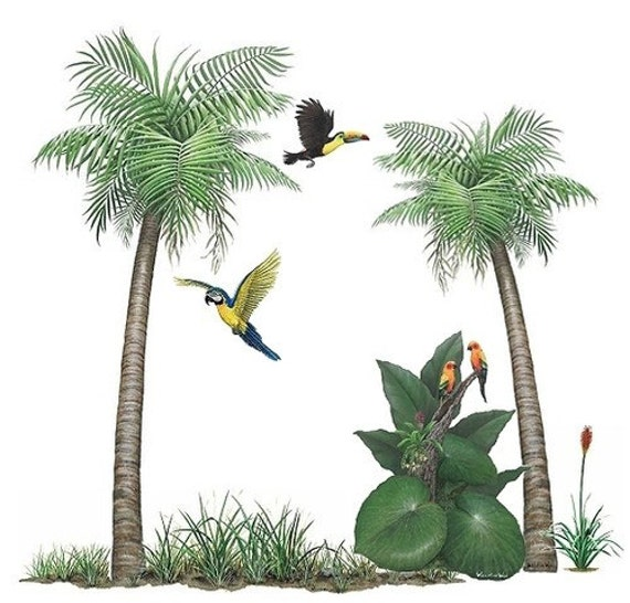 palm tree tropical bird murals collection wall decal stickers
