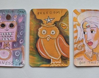 3 Hand Painted Postcards: Robot, Owl, Angel