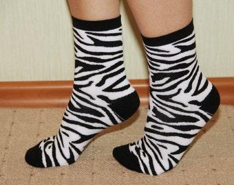 Socks with zebra, black - white socks, Leg Warmer, Animal Sock, women socks, casual socks,  Fun Socks. Colorful Socks. Socks