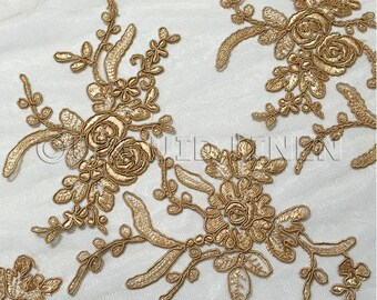 Laylani Lace Fabric in Gold - Gorgeous Fabric With Floral Embroidery Throughout - Best for Weddings, Bridal Parties, and Events
