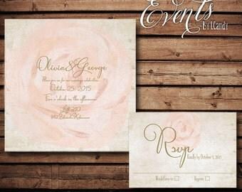 wedding invitations PRINTED - Blush Rose 57 invitation and rsvp