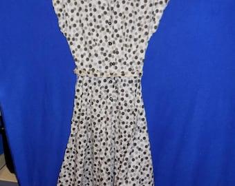 "1950 Brown Polka Dot Cotton Dress, Bust 34"""
