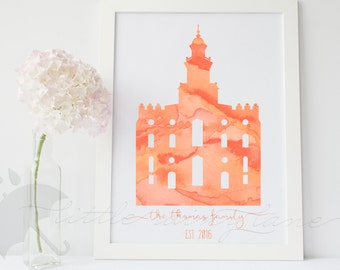 LDS Temple art - Customizable - St. George Temple - Printable