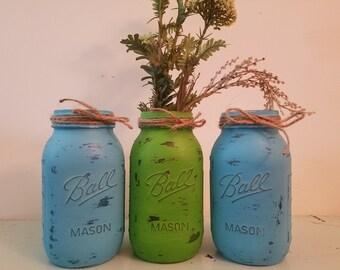 Distressed Green and Blue Mason Jar, Painted Mason Jar, Wedding, Baby Shower