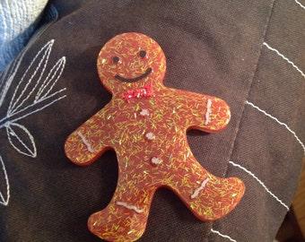 Gingerbread Man Confetti Sparkling Brooch 1940's 50's vintage inspired handmade by VivaLaLux