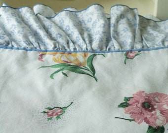 Twin Flat Sheet ~ Large Floral Print Ruffles ~ Blue Green Pink Yellow ~ Vintage Cannon Bedding