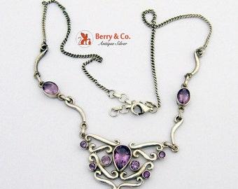 SaLe! sALe! Ornate Necklace Sterling Silver Amethysts