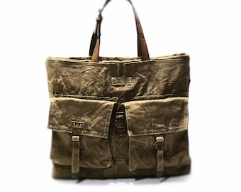 Tote bag, canvas bag, recycled canvas bag, canvas tote bag with leather handles