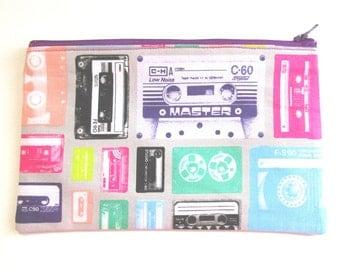 Retro Cassette Tape Fabric Pouch // Cassette Pencil Case // 80s Party Favors // Retros 1980s