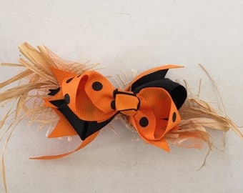 Halloween Hair Bow- Orange and Black with Straw 5""
