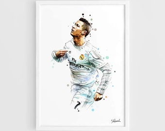 Cristiano Ronaldo Real Madrid CR7  - A3 Wall Art Print Poster of the Original Watercolor Painting Football Poster Soccer Poster