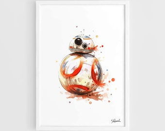 BB8 Star Wars Movie Poster (BB8 Art Poster, Star Wars Art, Star Wars Poster) -A3 Wall Art Print Poster of the Original Watercolor Painting