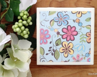 Ceramic Coasters - Ceramic Tile Coasters - Coaster Set - Table Coasters - Floral Coasters - Spring Decor - Flower Coasters - Coasters