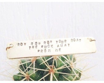 Row Your Boat Stamped necklace