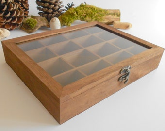 Wooden tea box with glass display- Mahagony colored bamboo wood- 16 compartments display box- storage box, herbs box- Help us plant 1 Tree