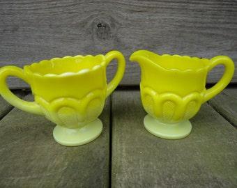 Vintage Opaque Yellow Glass Creamer and Sugar Set