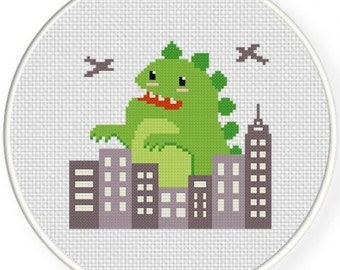 Cute Zilla, Handmade Unframed Cross Stitch-Kids Room Decor Wall Art, Childrens Room Decor Wall Art, Boys Gift, Gift For Boys, Godzilla Art