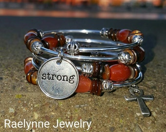 Wrap Bracelet - Red Agate and Amber Shell