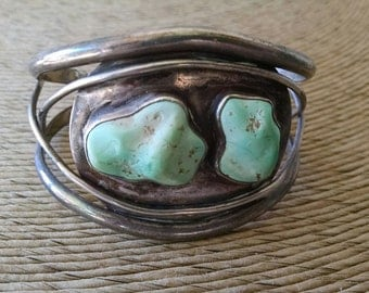 Vintage Native American Pawn Silver With 2 Turquoise Stones Cuff Bracelet