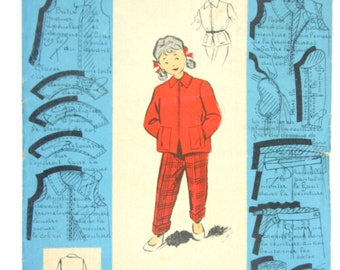 Vintage girl's jacket and pants pattern, French midcentury pattern for 5 to 7 years old girls