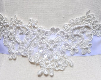 Ready to ship - Wedding Sash/Belt,Bridal Sash,lace Sash,Beaded Sash WB2