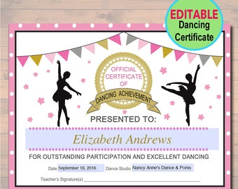 Editable cheerleader certificate instant download editable dancer certificate instant download dancing award dancer printable participation award sports yadclub Image collections