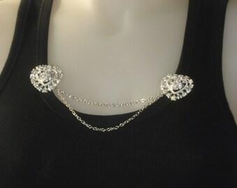 Silver Heart Rhinestone Sweater Guard  - Retro Look Diamante Sweater Chain - Vintage Inspired Jewelry - Bridal Wedding