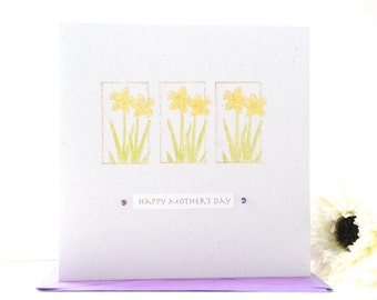 Mother's Day card, handmade Mothers day card, personalised Mother's Day card - Daffodils card - flowers card Mothers day
