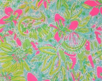 18 x 18 inches Lilly Pulitzer 2016 Cotton Poplin Fabric Coconut Jungle  a