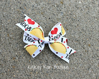 I Love Tacos Hair Bow - Taco Hair Bow - 3 Inch Hair Bow - Girls Hair Bow - Food Hair Bow - Taco Bow - Taco - I Heart Taco Hair Bow