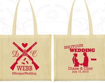 Shotgun Wedding Bags, Custom Cotton Bags, Country Bags, Southern Wedding, Redneck Bags, Tote Bag Personalized (562)