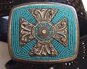 Maltese Cross and Turquoise Beads Antique Silver Belt Buckle