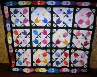 MUSEUM BEAUTY - vintage framed tulips patchwork quilt top