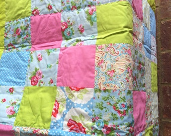 Delilah Blue and Lime Quilt for Baby or Toddler